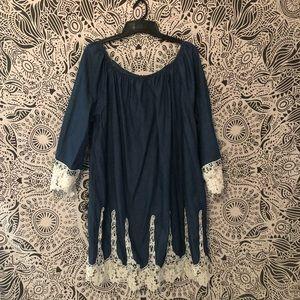 Off the shoulder blue lacy dress